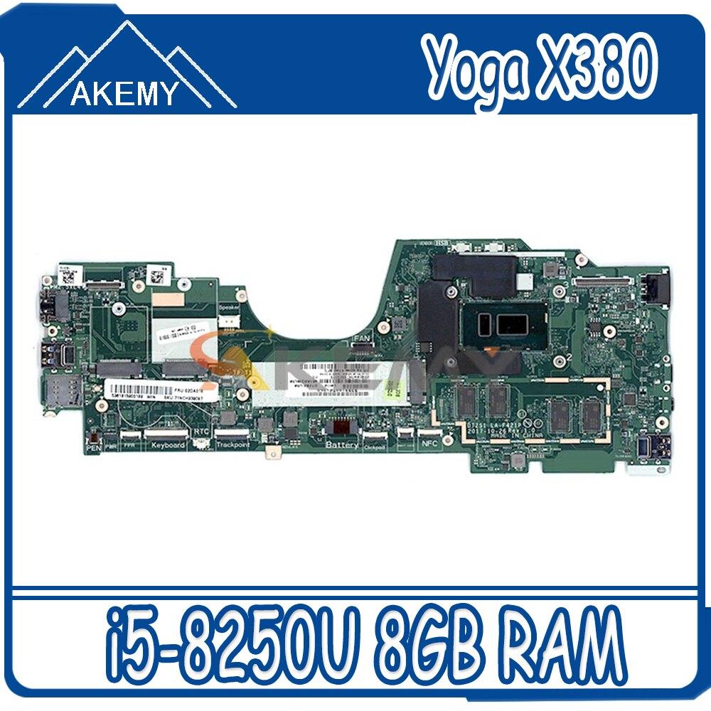 LA-F421P для ThinkPad X380 Йога Материнская плата ноутбука процессор i5 8250U RAM 8GB протестирована 100% рабочая FRU 02DA004 02DA006 5B20X01166