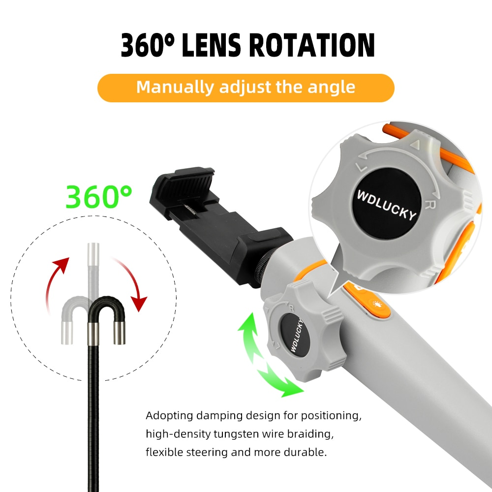 1080P Multifunctional Steering Endoscope Camera 8MM with 6 LED for Car Sewer Drain Inspection Camera WIFI Taking Video Recording