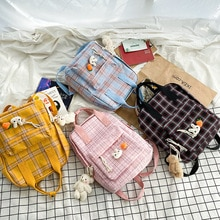 Canvas Backpack With Bear Pendant Simple Women Backpacks Shoulder School Bag College Wind Bag Plaid Teenage Girl Travel Backpack