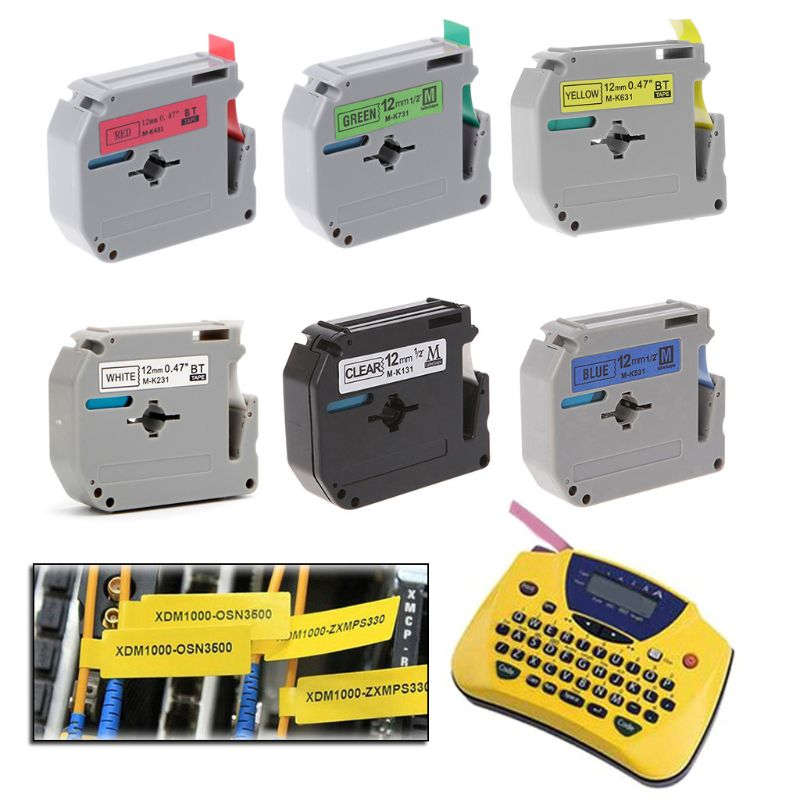 Cinta para impresora de etiquetas, cinta de 12mm de ancho, Serie MK para fabricante de etiquetas Brother p-touch