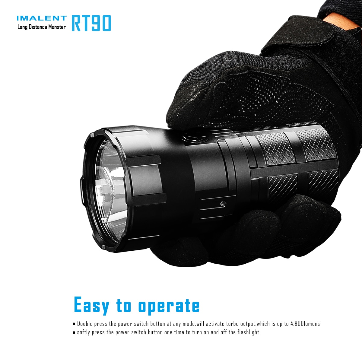 IMALENT RT90 Rechargeable LED Flashlight LUMINUS SBT-90.2nd 4800LM High Powerful  Torch for Searching, Caving, Patrolling enlarge