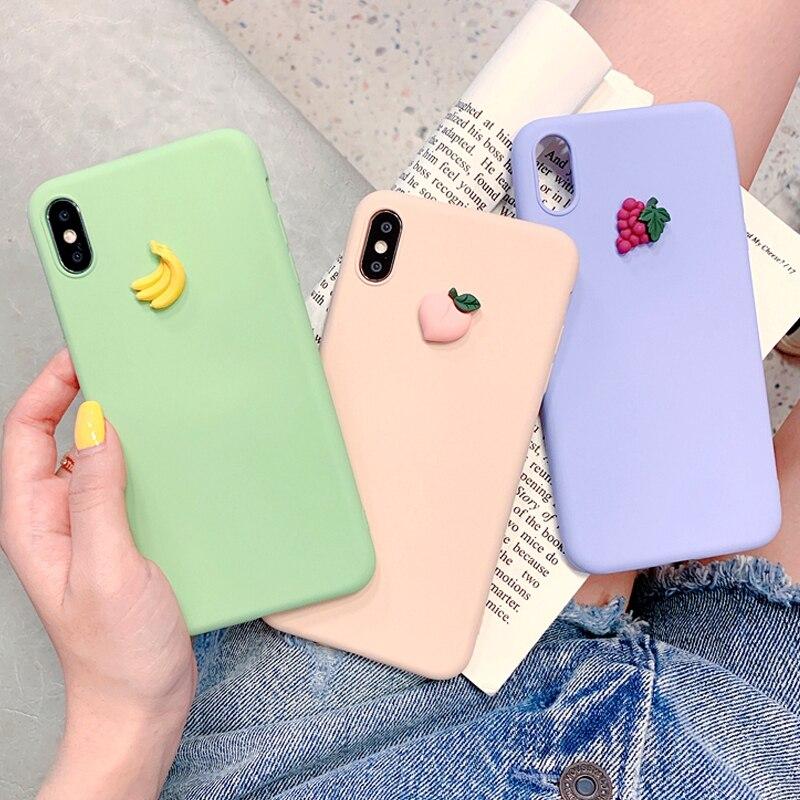 3D かわいいニンジンバナナブドウフルーツシリコーン電話ケースのための iphone × XR XS 最大 6S 7 8 プラスのための samsung s8 s9 s10e s10 注 9 8 10