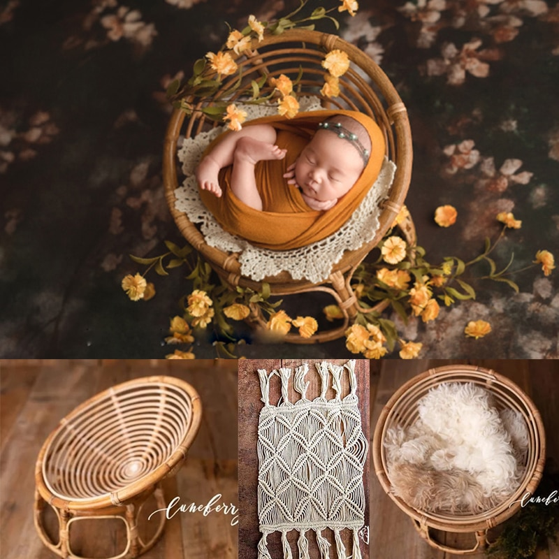Newborn Photo Shoot Posing Bed Bamboo Basket Baby Photography Props Handmade Vintage Chair For Boys Girls Fotografia Acessorio