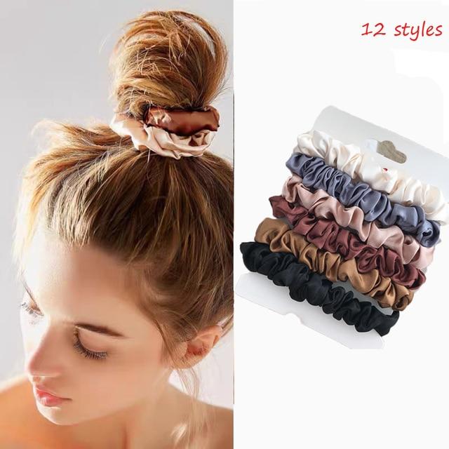 4/6 Pcs/Set Woman Fashion Scrunchies Velvet Hair Ties Girls Ponytail Holders Rubber Band Elastic Hairband Hair Accessories