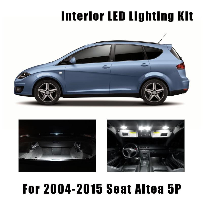 Juego de 13 Uds. De bombillas LED para domo de mapa Interior de Canbus sin errores para Seat Altea 2004-2015 5P 5P1 5P5 5P8 para lámpara de maletero o matrícula