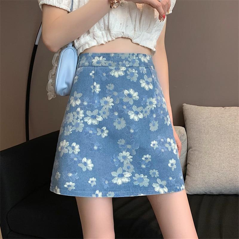 Korean style high waist fashion short skirt bag hip skirt floral denim skirt  plus size jean skirts  A-LINE  Tie dye  Polyester 2020 new korean style elegant split embroidered a line denim midi skirt korean harajuku skirt jean skirt denim skirt
