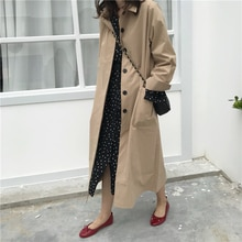 Women Autumn Long Sleeve Cloak Long Trench Coat Female Pocket Cardigan Straight Shirt Windbreaker Ma