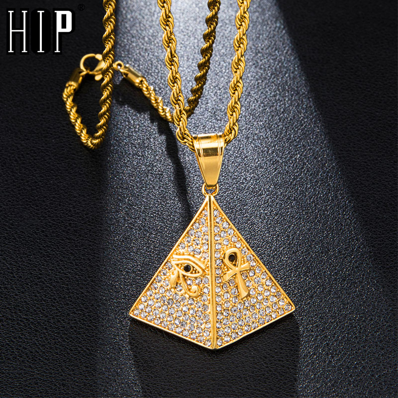 Hip Hop helado Bling egipcio dije de pirámide pavimentada cristales collar de acero inoxidable y colgantes para la joyería de los hombres