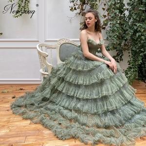 Robe De Soiree Long Evening Dresses Mint 2020 Tulle Shiny Party Gown Turkish Kaftans Strapless Women Prom Dress For Saudi Arabia