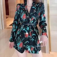 spring autumn 2021 vintage abstract print blazer ladies coat long sleeve women korean lapel loose casual pocket suit outerwear