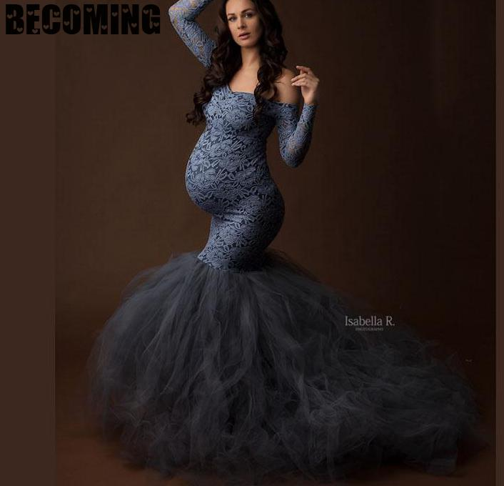 Maternity Dresses For Photo Shoot  Long Sleeve Autumn Pregnant Maxi Gowns For Shooting Pregnant Women Long Dress Photography big enlarge