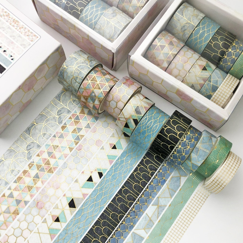 10 pcs/set Color geometric lattice gold Washi Tape set Scrapbooking Decorative Adhesive Tapes Paper Japanese Stationery Sticker