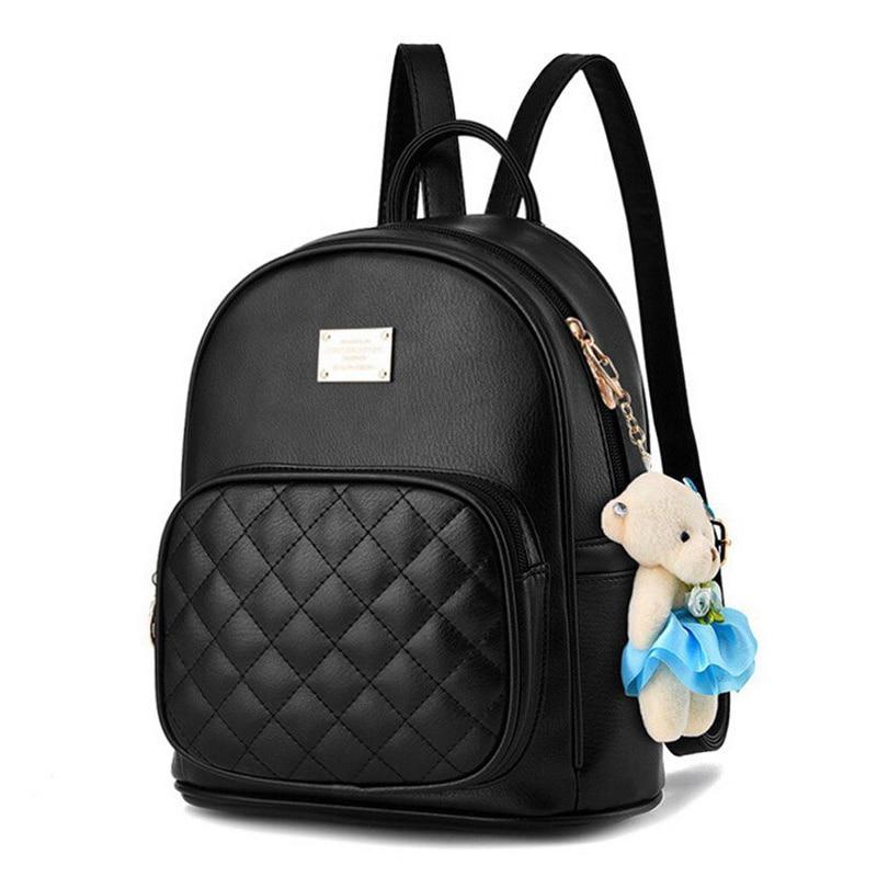 Fashion Women Small Backpack Girls Backpacks Black Backpacks Female Fashion Girls Bags Ladies Black Backpack Leather school bag