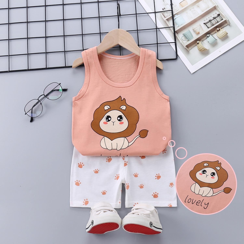 Summer Baby Boy Clothes Toddler Boys Cartoon Vest+shorts 2pcs Suits New Children Print Clothing Sets Kids Cotton Cute