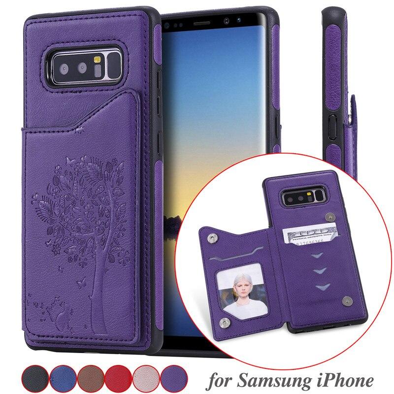 Funda de cuero para Samsung Galaxy S10E S10 S9 S8 Plus Note 10 9 8 A50 A30s A50s funda de portatarjetas para iPhone 11 Coque