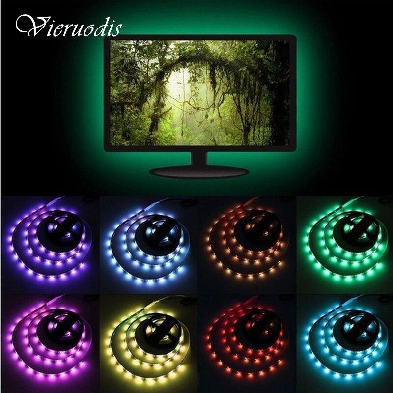 Tira de LED de 2M 3528SMD cinta de luz 12V Fita diodo Flexible LED tira de tira Barra de neón lámpara LED para retroiluminación de TV