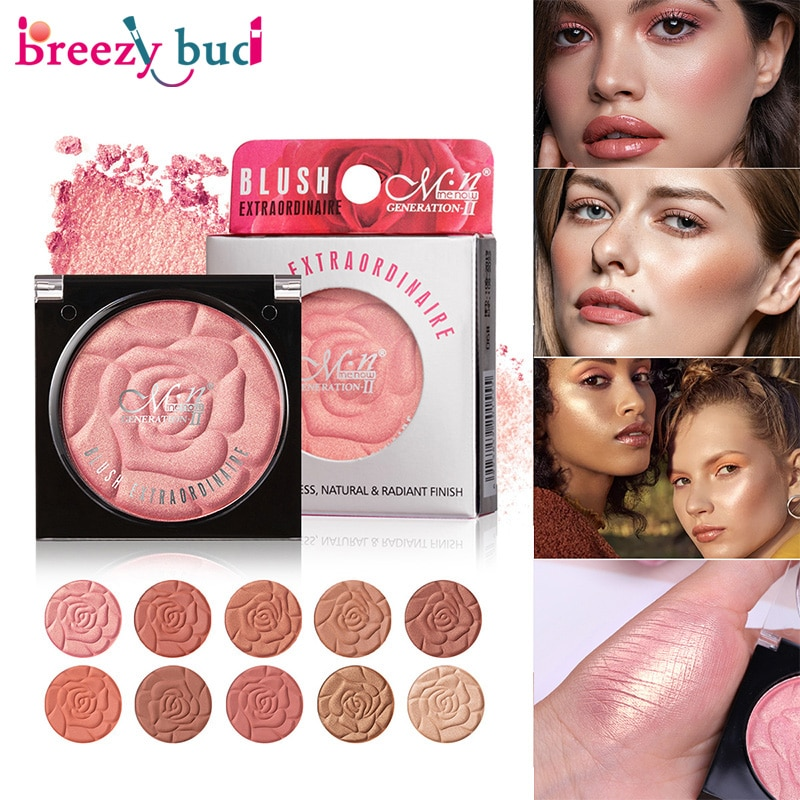 Matte Monochrome Blush Facial Cosmetics Long Lasting Natural Blush Palette Petals Blush Pearlescent Rouge Makeup Tools