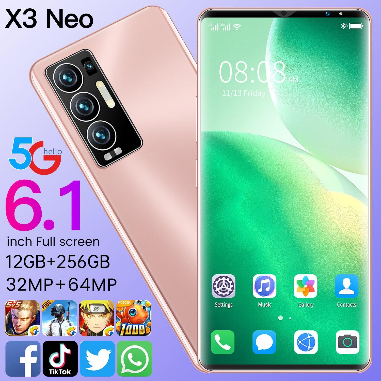 X3 Neo Smartphone Android 12Gb +128Gb Deca Core 32MP+64MP Fingerprint Face Id 6000mah Smart Phone Andriod 11 Mtk6889+ Cellphone