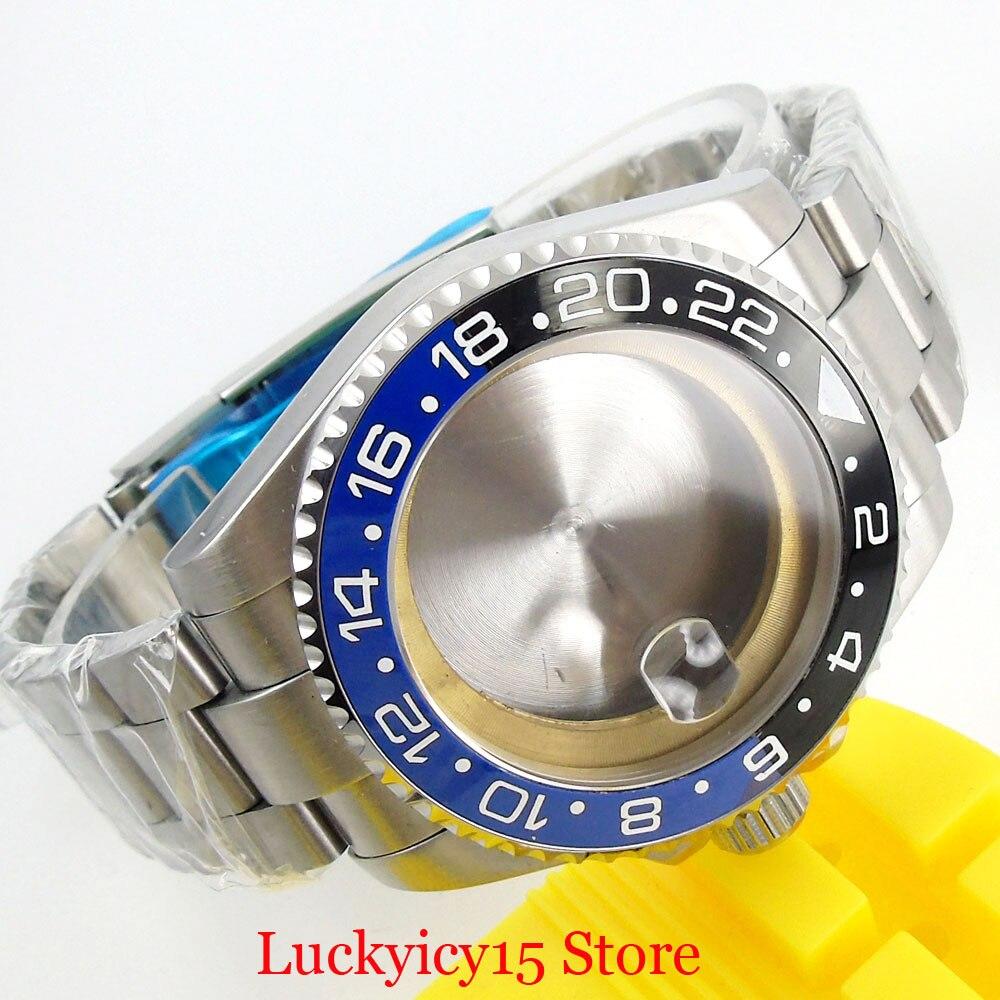 Edelstahl 40mm Uhr Fall mit Sapphire Glas Lünette + Uhr Armband Fit ETA 2836 MIYOTA Bewegung