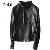 pudi a29102 new women genuine sheep leather coat lady black style zipper sheepskin jacket fallwinter coat