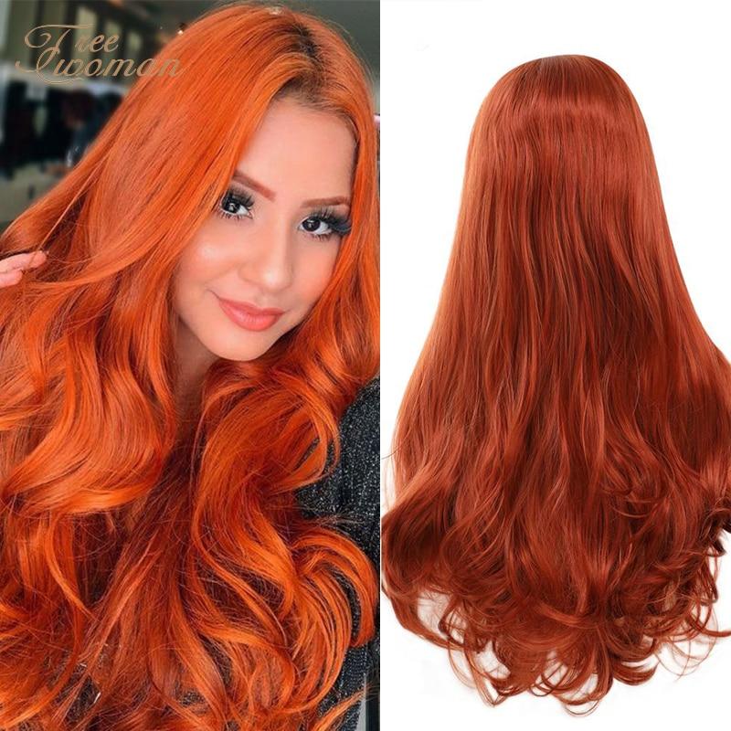FREEWOMAN-شعر مستعار صناعي مموج 24 بوصة ، وصلات شعر طويلة ، باروكات تنكرية للنساء ، شعر مستعار أمامي من الدانتيل ، بنفسجي ، وردي ، أخضر