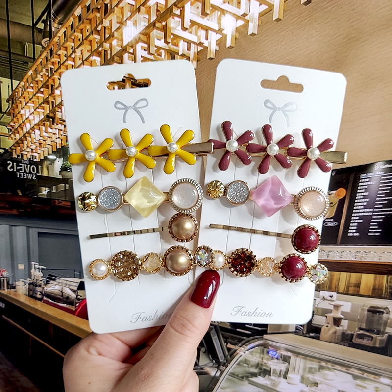 2020 coreano moda feminina meninas pérola cristal hairpins lado clipe de cabelo jóias nova geométrica headwear acessórios para o cabelo barrettes