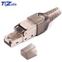 rj45 cat6a connectors 10gbps shielded rj 45 terminals crimp ethernet cable modem computer network adapter lan patch cord modular