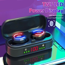 TWS LED Power Display Headphones Wireless Bluetooth-compatible Headset Noise Canceling Stereo Headse