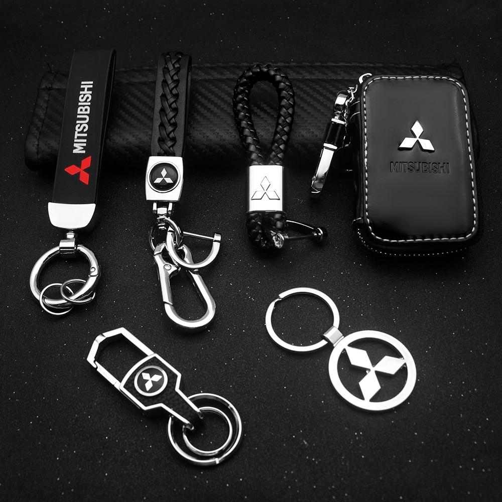 AliExpress - Car Metal Keychain Leather Key Ring 3D Logo Key Case Car Styling For Mitsubishi Outlander Lancer Asx Pajero Car Accessories Key