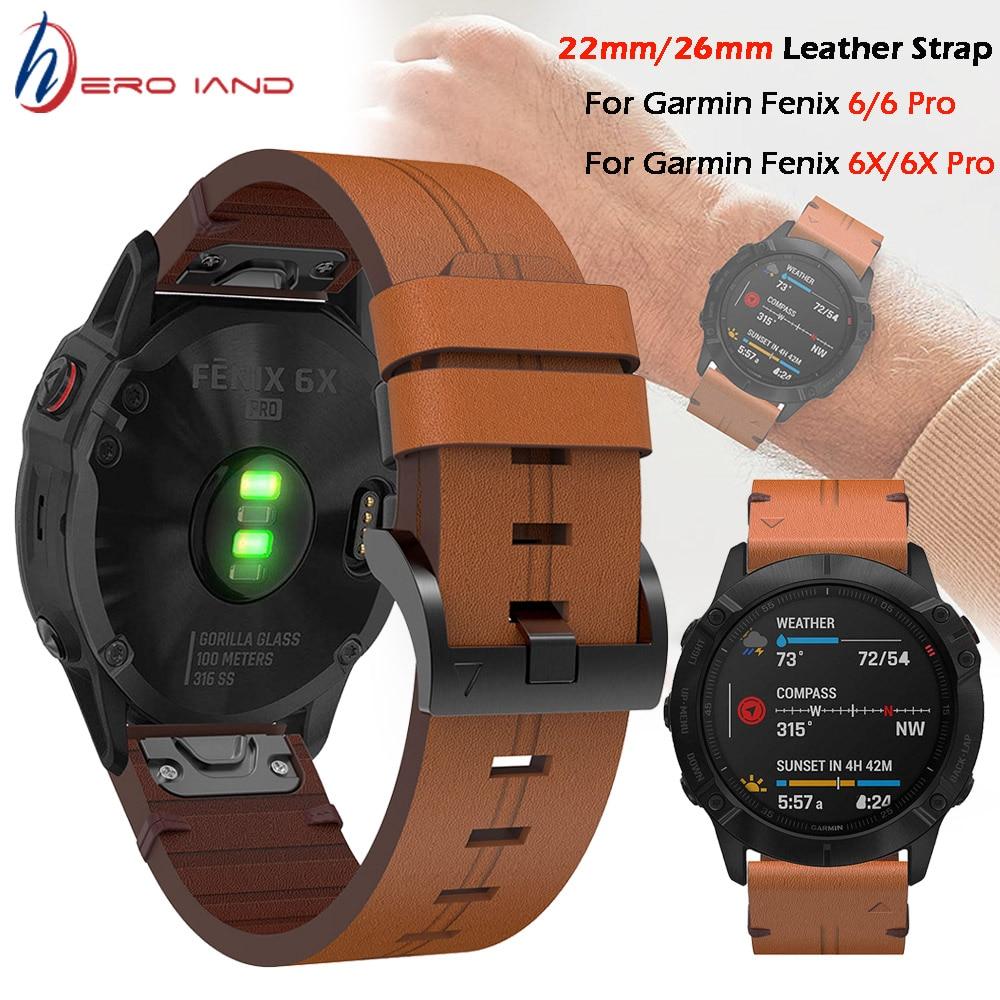 Para Garmin Fenix 5 / 5X Plus 6 / 6X Pro Smart Watch correa de cuero correa de reloj pulsera 20 22mm 26mm Ajuste rápido correa de muñeca