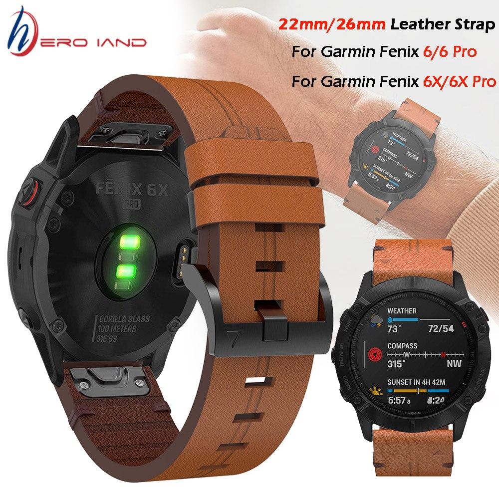 para Garmin Fenix Pulseira de Couro Plus 6x Pro Relógio Inteligente Pulseira 20 22mm 26mm Ajuste Rápido 5 – 5x 6
