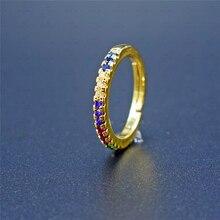 Délicat mince multicolore cubique Zircon anneau couleur or Simple classique Bague de mariage anneaux pour les femmes mode Bague bijoux