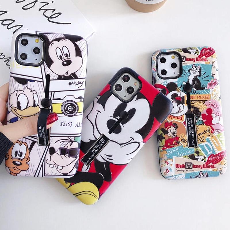 Funda linda del teléfono del anillo del lazo del Oso de la historieta para el iPhone XR XS X 6S 7 8 Plus XS 11 Pro Max Mickey Minnie Hide la cubierta del soporte de anillo