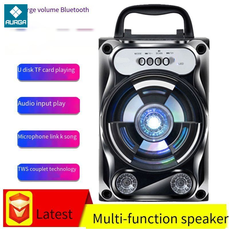 New Outdoor Sport Travel Bluetooth-compatible Speaker Wireless Sound System Bass Stereo with LED Light Support TF Card FM Radio enlarge