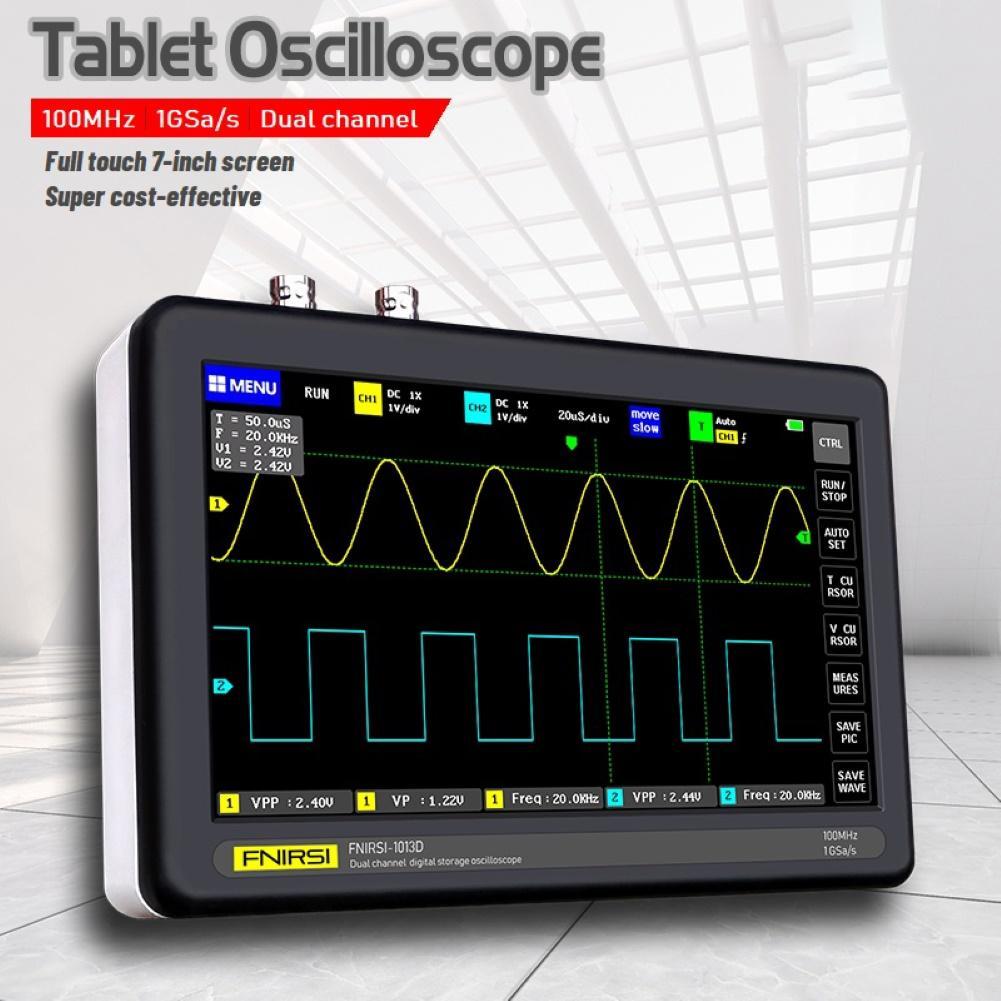 FNIRSI 1013D numérique 2CH 100M largeur de bande 1GS/s taux déchantillonnage tablette Oscilloscope