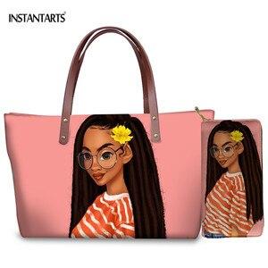 INSTANTARTS Women Large Handbag with Long Wallet Set Black American African Women Design  Girls Totes-Bag Shoulder--Bag 2pcs