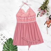 حجم كبير 8XL المرأة مثير فستان النوم الدانتيل الملابس الداخلية مجموعة الصلبة الخامس الرقبة فستان سهرة صغير السيدات فستان النوم مع ثونغ