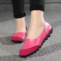 2021 new casual women shoes soft genuine leather woman flats solid female loafers slip on mother shoe plus size 35 44