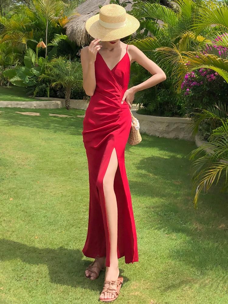 Fashion Dresses Women 2021 Red Beach Elegant Party Sexy Dresses Off Shoulder Summer Elegant Strap Robe Femme Dresses BG50DD