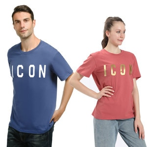 ICON letter printing Women Men's cotton sports T-shirt Crew Neck short sleeve sweat-absorbent comfort Shirt