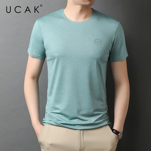 UCAK Brand Classic O-Neck Solid Color Short Sleeve T-Shirts Summer New Fashion Arrivals Streetwear Casual T Shirt Homme U5551