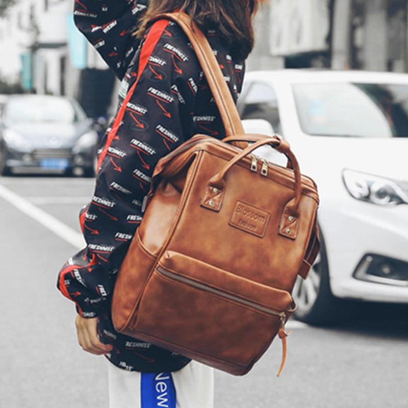 2021 Vintage backpack women high quality leather backpack high capacity school bags for teenage girls women travel backpacks
