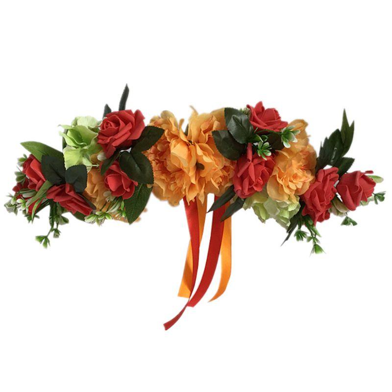 Flor de Rosa Artificial, hojas verdes y cinta de seda para el jardín de la habitación del hogar