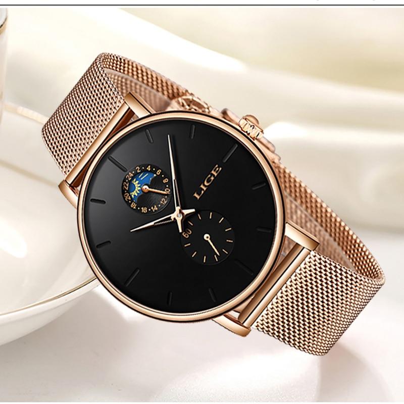 LIGE New Women Luxury Brand Watch Simple Quartz Lady Waterproof Wristwatch Female Fashion Casual Watches Clock reloj mujer 2020 enlarge