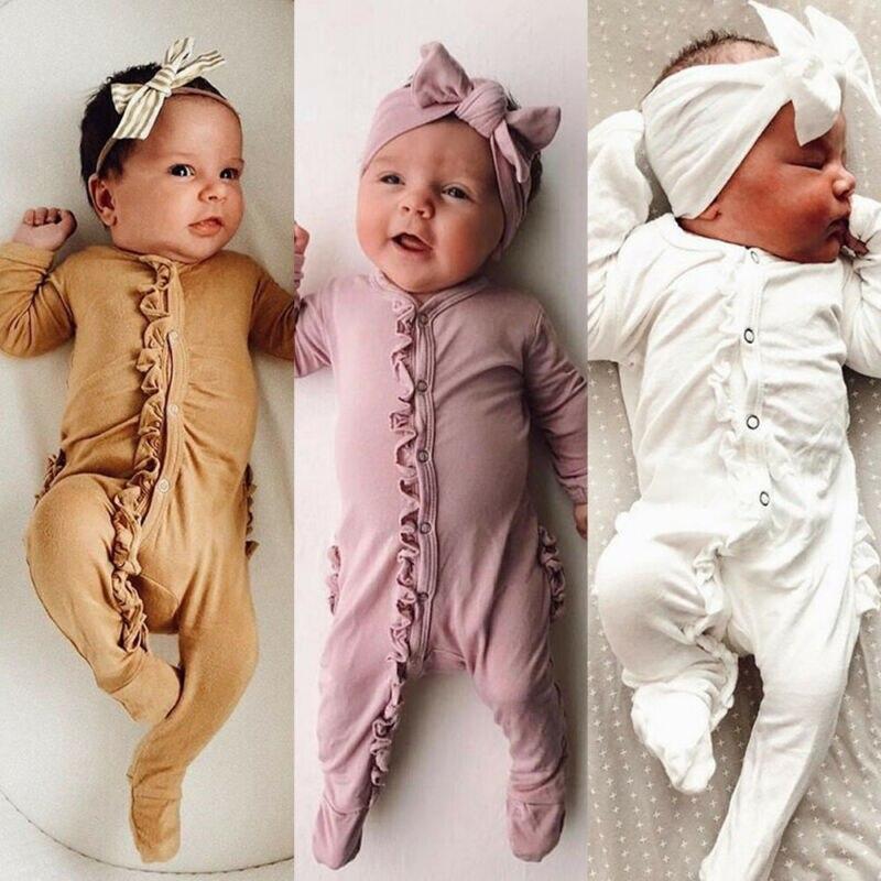 2021 Newest Infant Baby Boy Girl Romper Playsuits Bodysuit Sleepwear Pyjamas Headband Clothes Kids B