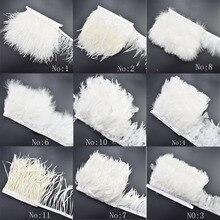 1 mètre/lot blanc plumes dautruche coupe frange coq plumes ruban pour bricolage couture robe vêtements mariage plumes décoration
