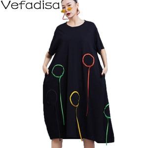 Vefadisa Geometric Circle Print Women Dress 2021 Summer Ribbon Dress O-Neck Mid-Calf Patchwork Women Dress Loose Black QYF3144