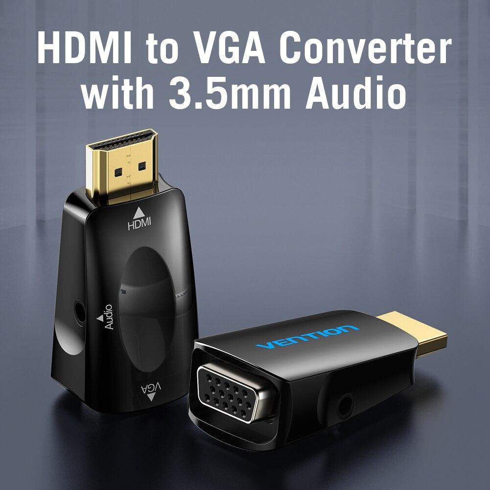 Vention AIDB0 HDMI macho a VGA adaptador hembra 1080P con salida de Audio de 3,5mm para PS4 Laptop PC caja proyector Dropshipping
