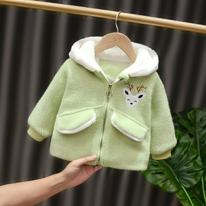 Children's Clothing Winter New Cute Girls Jacket Cartoon Zipper Hooded Thick Warmth Outerwear 1 2 3 4 Years Girls Clothes