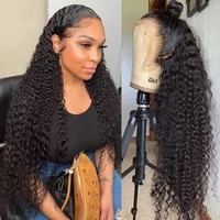 30 inch curly human hair deep wave hd frontal wigs for black women brazilian 13x4 wet and wavy water wave full lace front wig